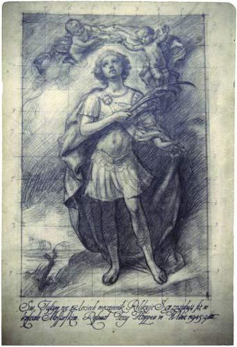 """- Касцёл Святой Ганны. Сьв. Юстын. Малюнак Юрыя Хопана. 1945 г. - эскіз для абраза маляванага для жупранскага касьцёла (здымак з сайта """"Cenne, bezcenne, utracone"""")"""