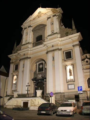 - Catholic church of St. Theresa (of the Carmelites). Main facade of the church of St. Theresa. View at night