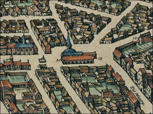- Ратуша . Віленская ратуша на першай вядомай выяве Вільні (з атласу 'Гарады сьвета...' Г. Браўна, 1576. Фрагмент)