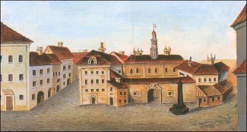 - Ратуша . Старая ратуша на малюнку П. Росі (каля 1763 г.)