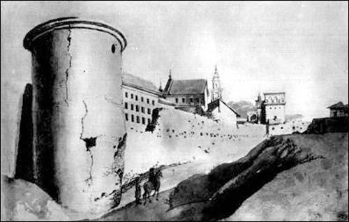 - . F. Smuglewicz. Widok wieży Rudnickiej i fragment murów obronnych z Ostrą Bramą w głębi