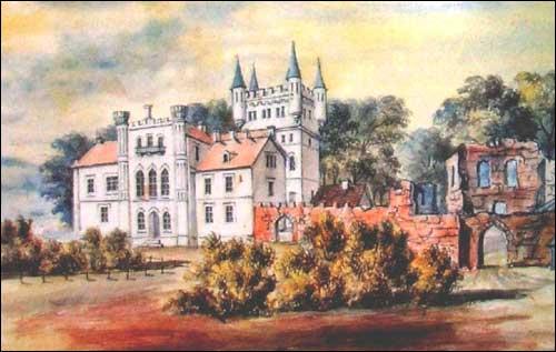 """Дворец в Белокрынице на рис.  Наполеона Орды (срава виднеются остатки стены более старого замка, до наших дней  """"не..."""