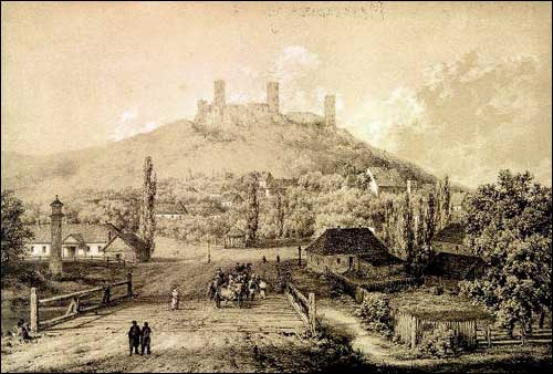 - . Chęciny (Poland). Ruins of the castle. Litography of N. Orda drawing
