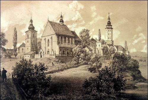 - . Biecz at Ropa river (Poland). Ruins of the castle. Litography of N. Orda drawing
