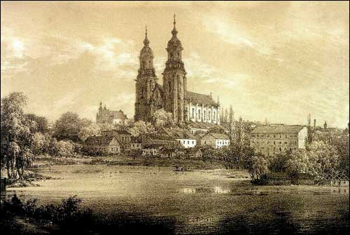 - . Gniezno (Poland). Cathedral. Litography of N. Orda drawing