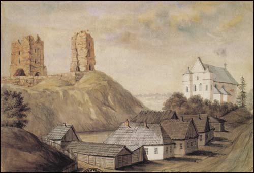 - . Navahradak (Belarus). Ruins of the castle and the catholic church