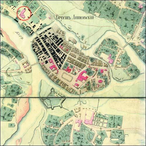 - Kościół i klasztor Brygidek. Kompleks na mapie Brześcia z 1823 r (z archiwum I. Ławrowskiej)