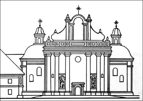 - Касцёл Святой Сафіі й кляштар дамініканаў. Касьцёл. Галоўны фасад