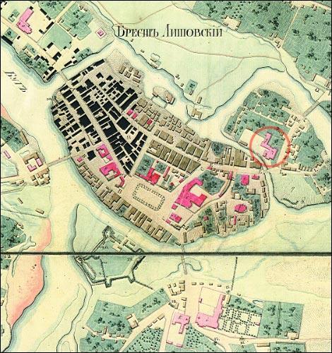 - Касцёл Святой Сафіі й кляштар дамініканаў. Комплекс на мапе Берасьця 1823 г. (з архіву І. Лаўроўскай)
