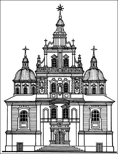 - Kościół i klasztor Dominikanów. Fasada główna, rysunek techniczny