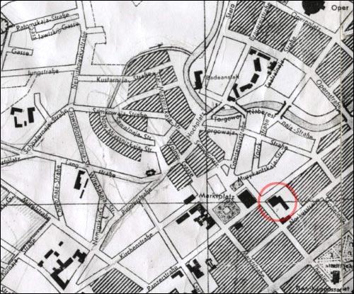 - Kościół i klasztor Dominikanów. Niemiecka mapa Mińska z 1942 roku; jedna z ostatnich, na której jest zaznaczony kompleks klasztorny