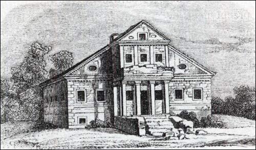 - Сядзібна-паркавы ансамбль Радзішэўскіх. Палацык Радзішэўскіх на малюнку К. Тышкевіча 1857 г.