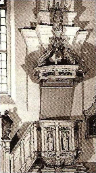- Касцёл Святога Лаўрэнція і кляштар аўгустынаў. Амбона XVII стагоддзя, Рэнесанс, дрэва (фота да 1990 г.)