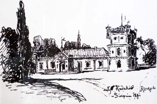 - Dwór Wańkowiczów. Stary drewniany dwór w Rudakowie. Rys. I. Wróblewskiego, 1909